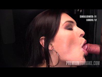 Premium Bukkake - Hannah Vivienne swallows 87 big mouthful cumshots