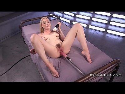 Blonde fucking machine and spanking