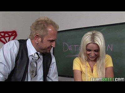 blonde schoolgirl gets fucked in the detention room