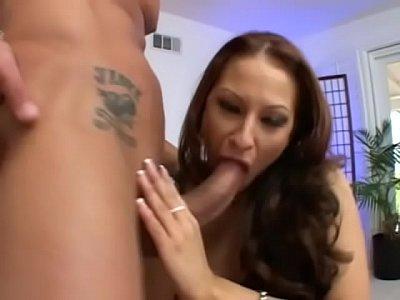 Tattooed Latina babe Leah Lexington fucked on a couch