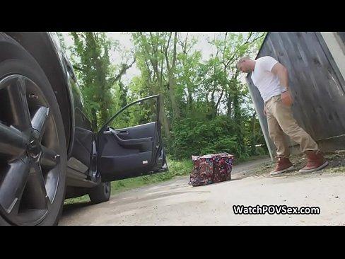 Banging broke bit tit outdoors in car trunk
