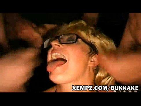 Faux cute blonde make messy bukkake with strangers at Excessive Big bukkake