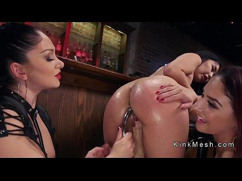 Lesbian threesome anal strap on fuck