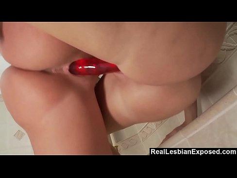 Lesbian showerhead masturbation