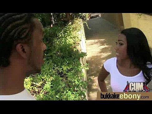 Sizzling hot ebony bukkake splatter gangbang pleasure 1