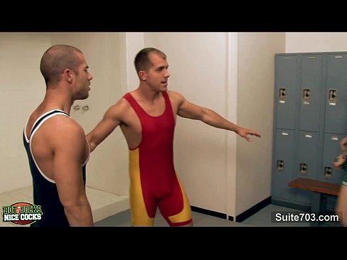 Locker room 3some
