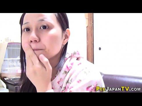 Japanese whore horny babe wet pee fills
