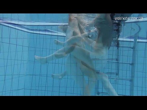 Hot lesbian underwater sex