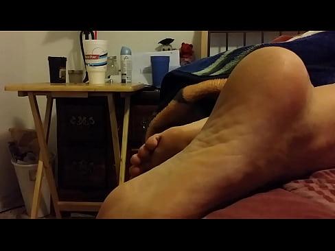 cum on sleeping feet -