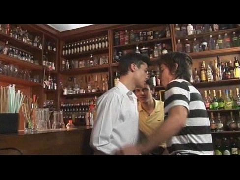 horny gay threesome at the bar