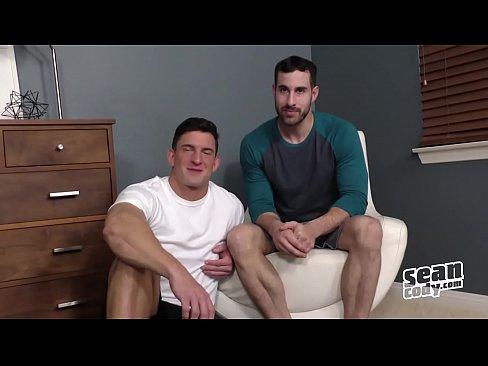 Randy gay guys threeway bareback
