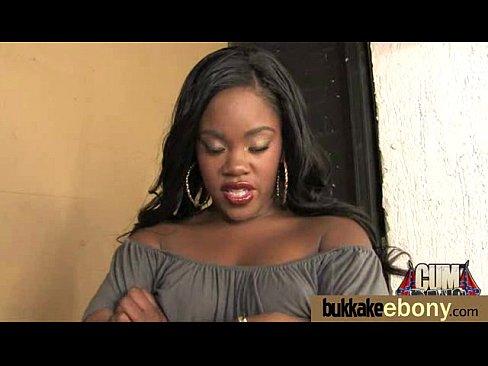 Hot ebony in an enormous bukkake splatter 19
