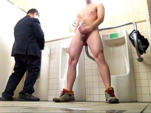 Public urinal masturbation