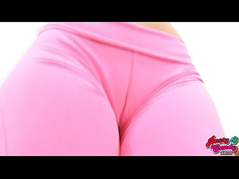 Busty Hot blonde Slut teen Exhibits Deep Hot cameltoe Tight pussy in Very tight Tight spandex