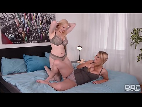 Busty Lesbians Angel Wicky & Katerina fuck a Double-ended Dildo