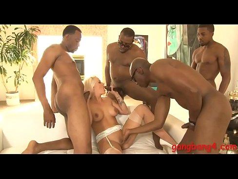 busty blonde bitch double stuffed by huge black cocks