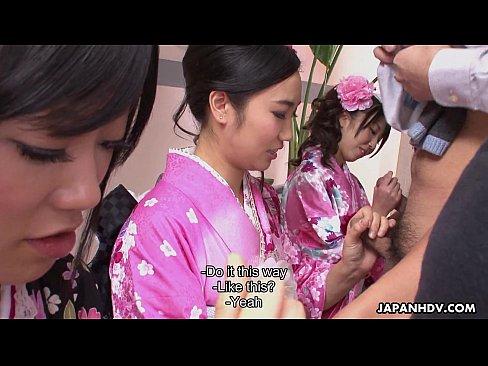 Three geishas sucking on one lonely hard cock