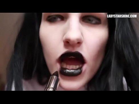 Black lipstick blowjob