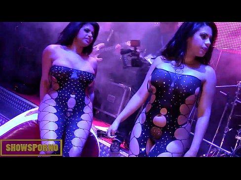 Bigbutt latin pornstars threesome on stage