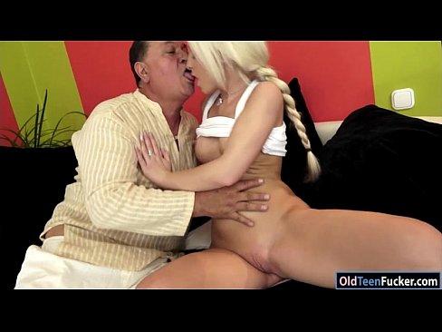 Teen hottie Anastasia Blonde sucks off grandpa before banged