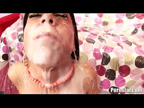 brunette hottie eva ellington gets a nasty cum shower