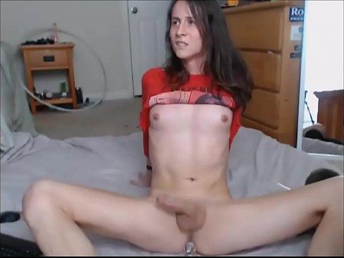 brunette shemale masturbating