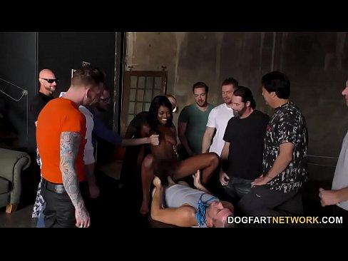 Beautiful Ebony Kandie Monaee Is Blowing Twelve Horny Dudes – 8 min