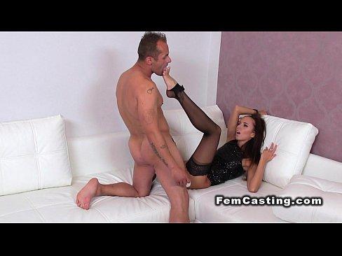 Dude fucks feminine agent and licks her foot