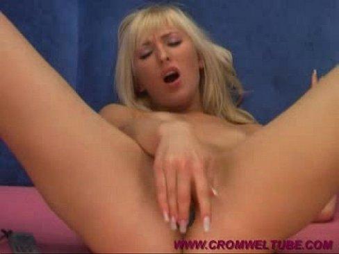 Ukrainian blonde SweetFrancie dildo fucks her wet pussy on webcam
