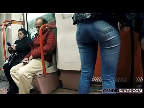 perfect big ass in super tight jeans in public - candidsluts.com video cs-081