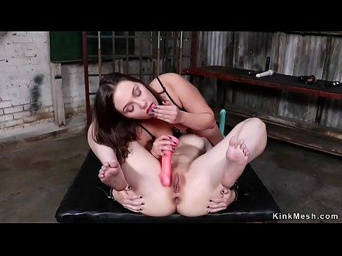 Lesbian anal bangs brunette on leash