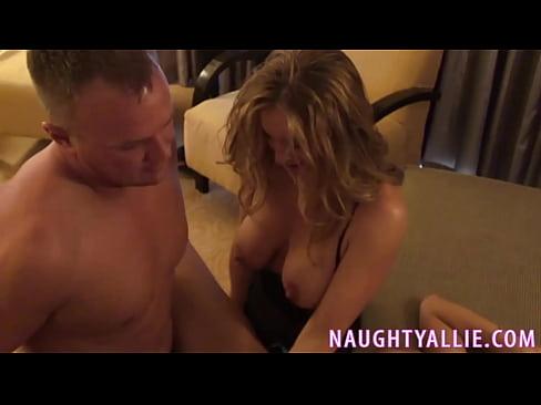 Latina big tits blonde hair braces two white cocks