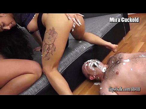Mistress mira extreme gangbang cum eating cuckold