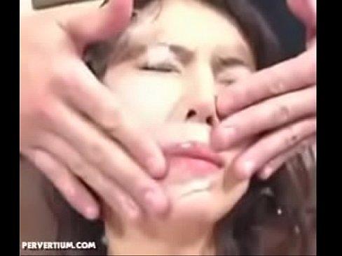 Japanese whore Messy bukkake Cumwash
