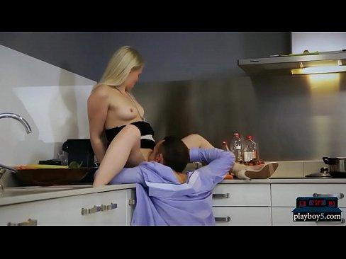 Dinner party sex in kitchen