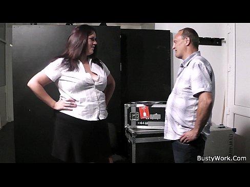 Bbw secretary stocking rides his cock