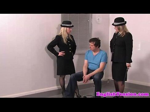 Uniform mistresses pissing cunt on sissy slave