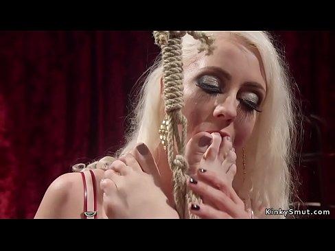 Blonde lesbian has lesbian anal fist fantasy