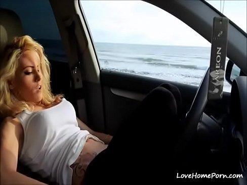 Amateur Blonde Car Blowjob