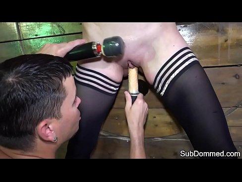Smalltitted babe toyed during bondage fetish