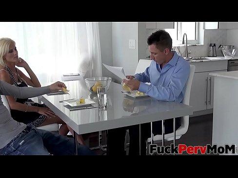 olivia blu in aged milf stepmom seduces her son during chores