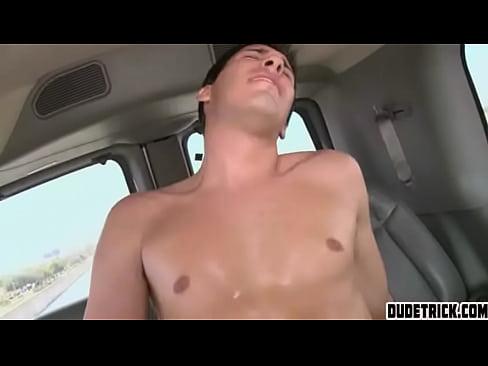 Guys fuck in car