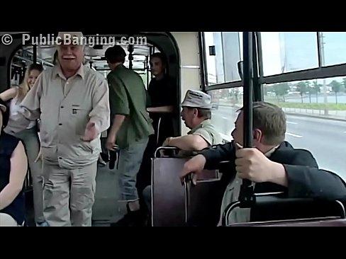 Interracial couple fucks at a busy bus
